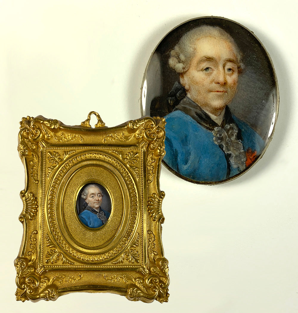 Tiniest Antique Portrait Miniature, c.1700s Gentleman, Likely Russian or Eastern European, Prussian