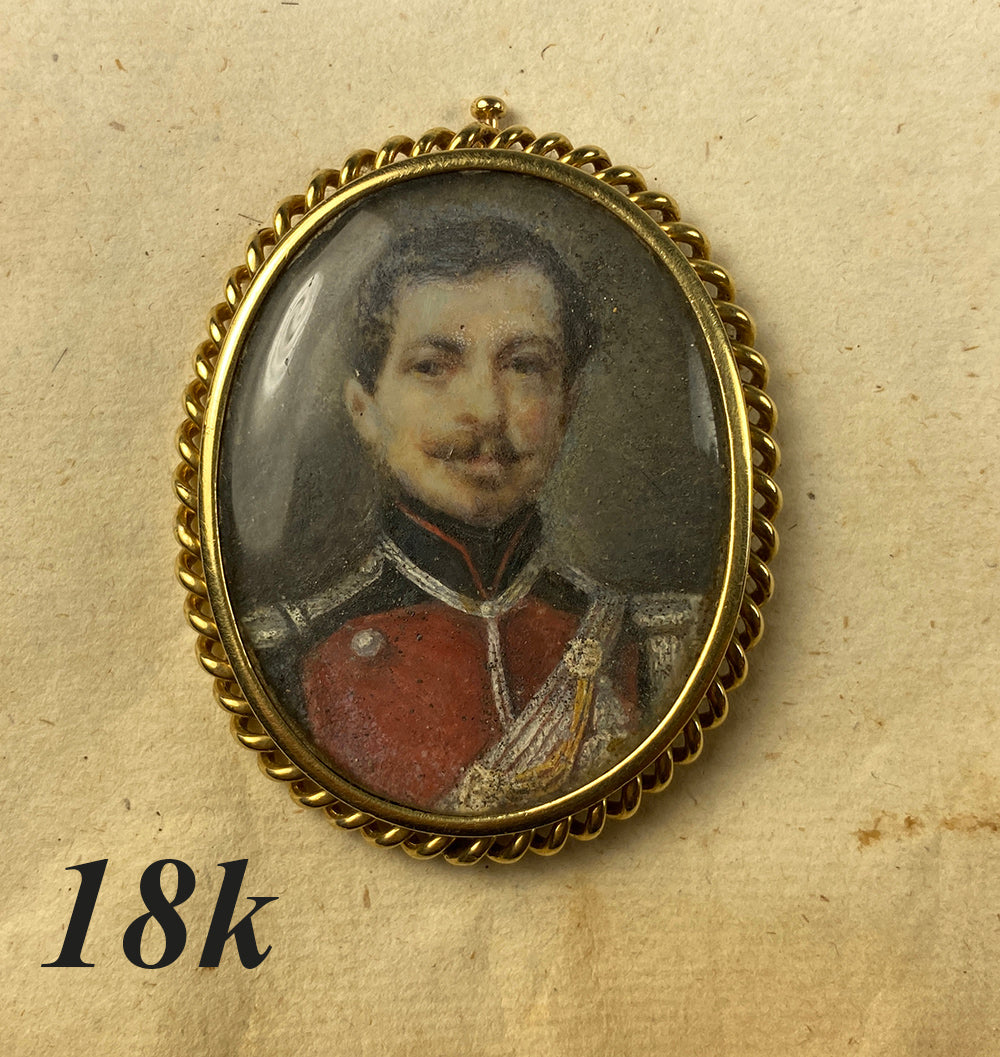 Antique French Portrait Miniature of a Soldier in Uniform, 18k Gold Brooch Mount