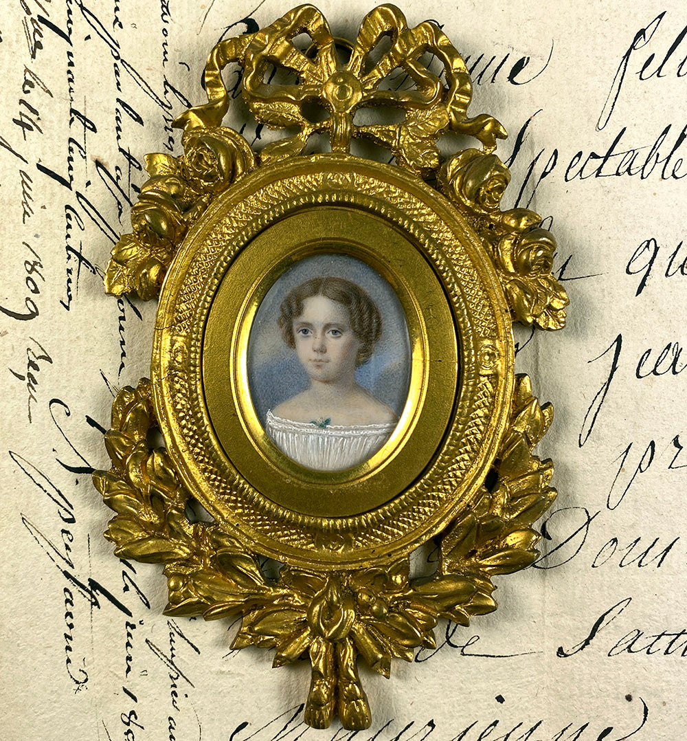 Elegant Antique French Portrait Miniature of a Child, a Girl of 7-8 Years, Elaborate Dore Bronze Frame