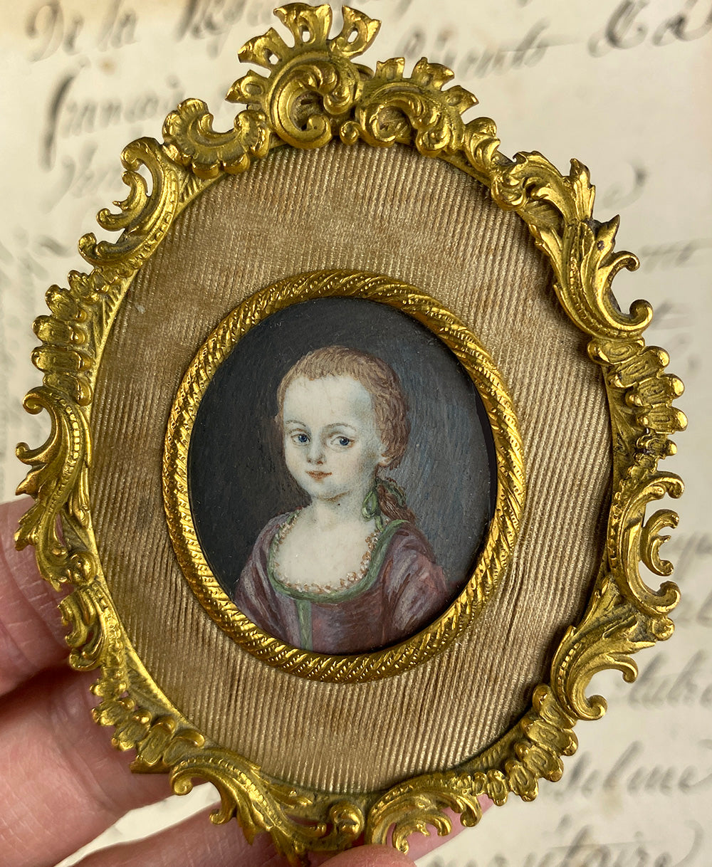 RARE Antique French Portrait Miniature of a Child, a Girl, c.late 1700s, Elegant French Easel Frame