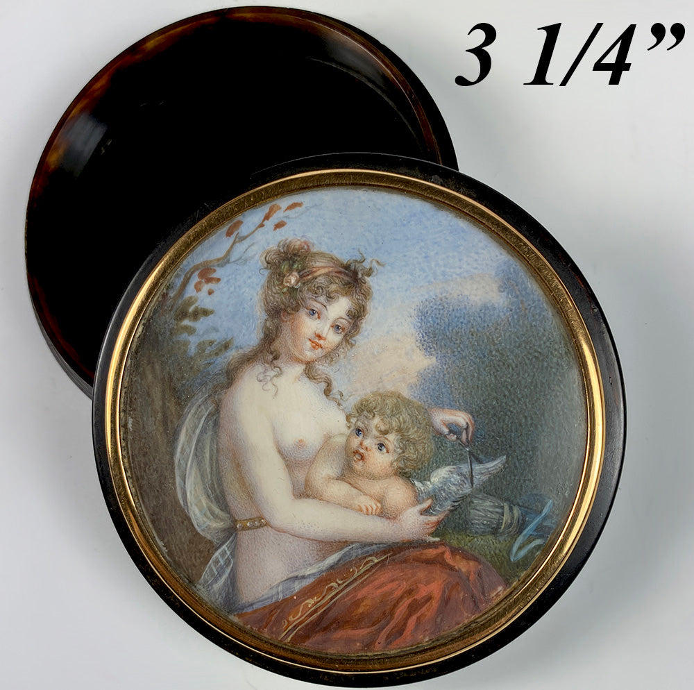 Fine Antique French Snuff Box, Portrait Miniature Painting Psyche, Cupid, Tortoise Shell