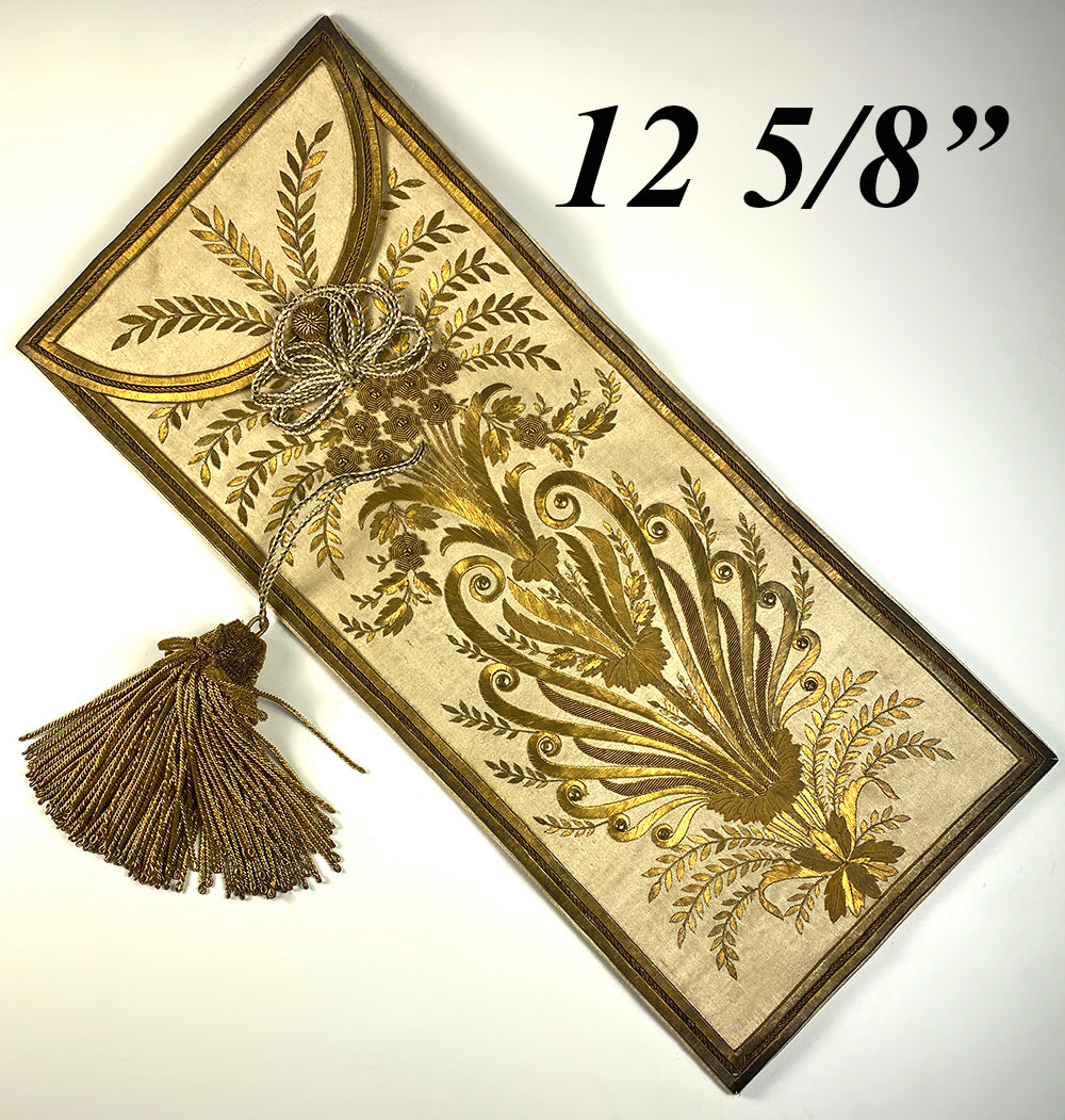 Antique Early c1800s French Gold Metallic Embroidery on Silk, Document Pouch or Purse, Louis Philippe