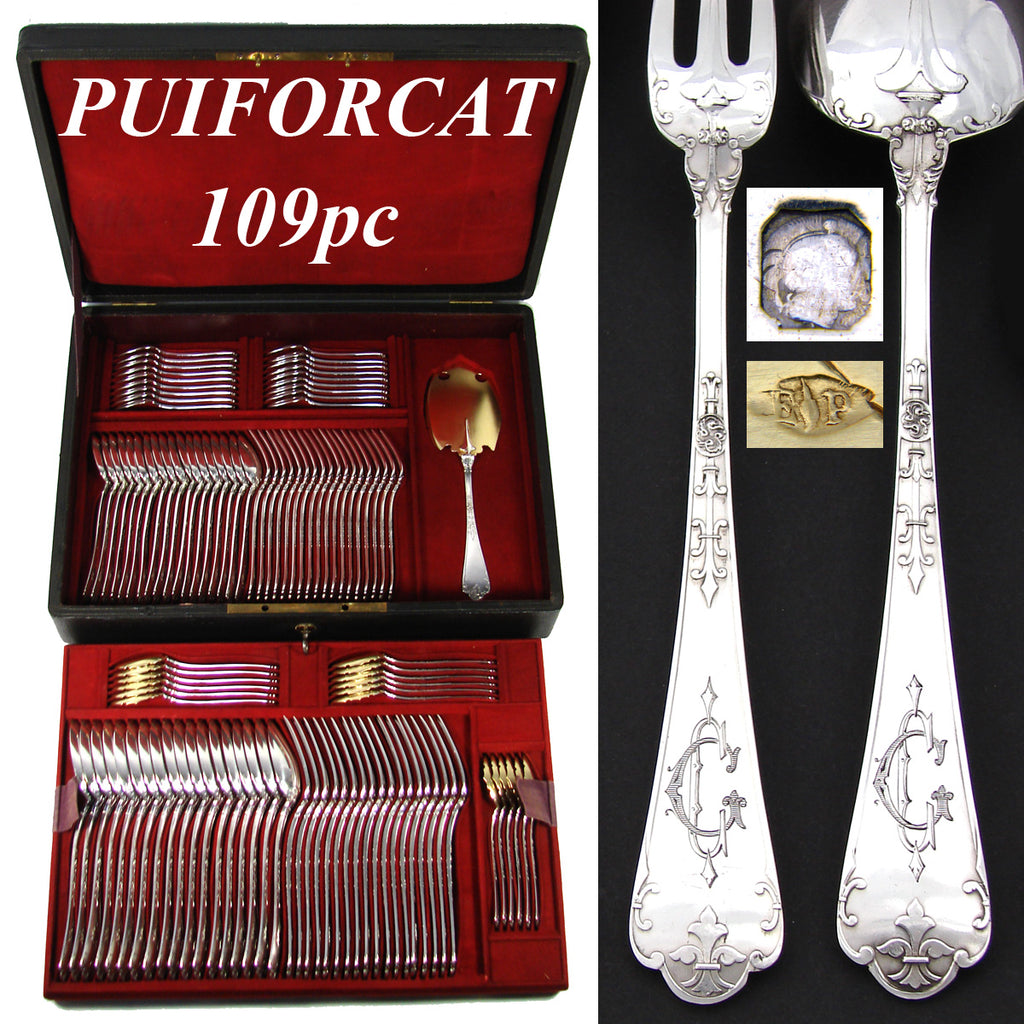 Exquisite Antique French PUIFORCAT Sterling Silver 109pc Gothic Style Flatware Set, a 6pc Setting for 18!
