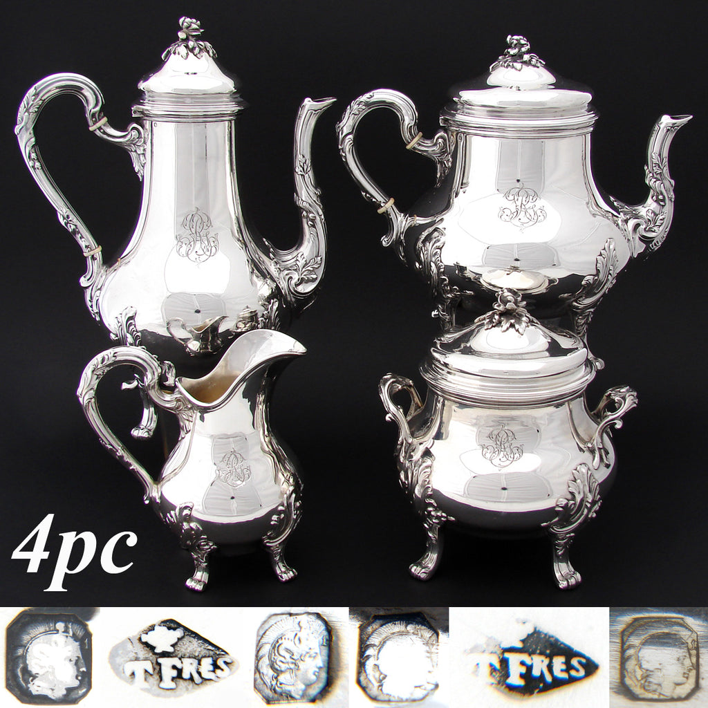 Elegant Antique French Sterling Silver 4pc Coffee & Tea Set, Louis XVI Acanthus & Foliate Accents, Floral Finials
