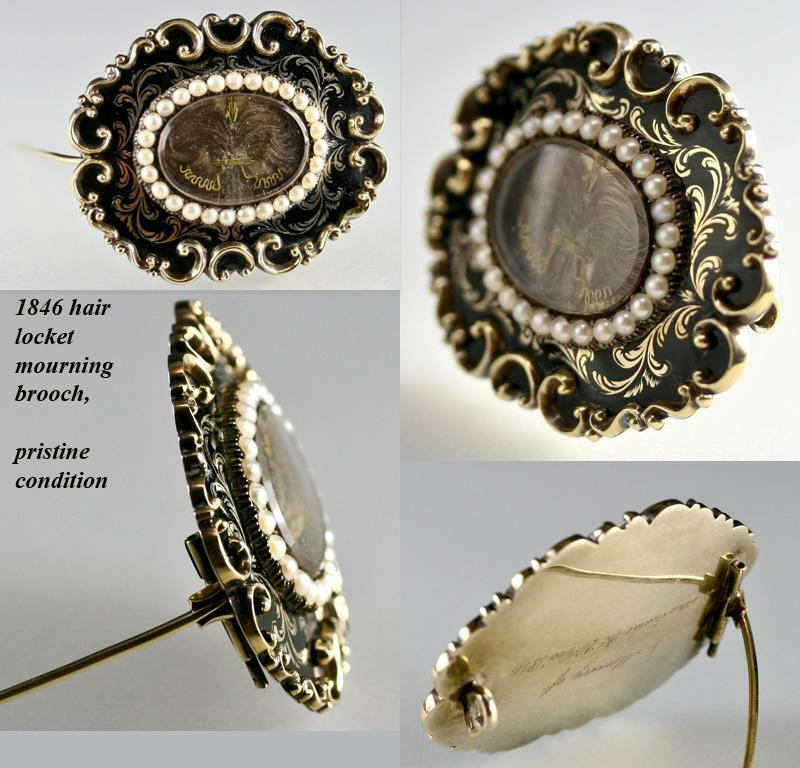 Early Victorian 12K Gold Mourning Brooch, Antique Seed Pearls, Enamel & Hair Art