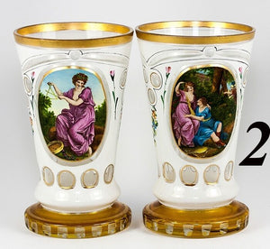 PAIR Antique Moser Bohemian Art Glass Tumblers, Glass or Goblet, Vase, Paintings
