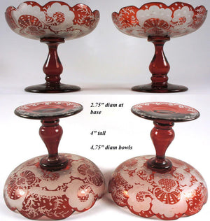 Antique Pair of 2 Matching Bohemian Red Flashing Engraved Compote, Raised Dish