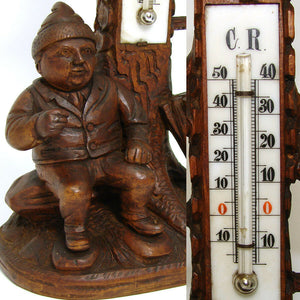 "Antique Black Forest Hand Carved Gnome 8"" Thermometer Stand, a Charming Gnome"