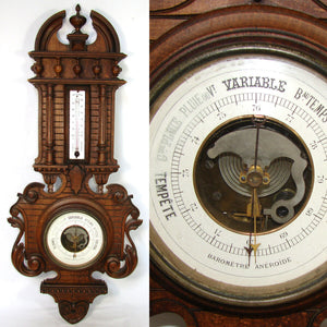 "Antique Victorian to Edwardian Era Hand Carved 29.5"" Wall Barometer, Thermometer"
