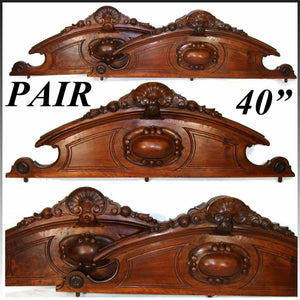 "PAIR Antique Victorian Carved Walnut 40"" Furniture or Architectural Cornices"