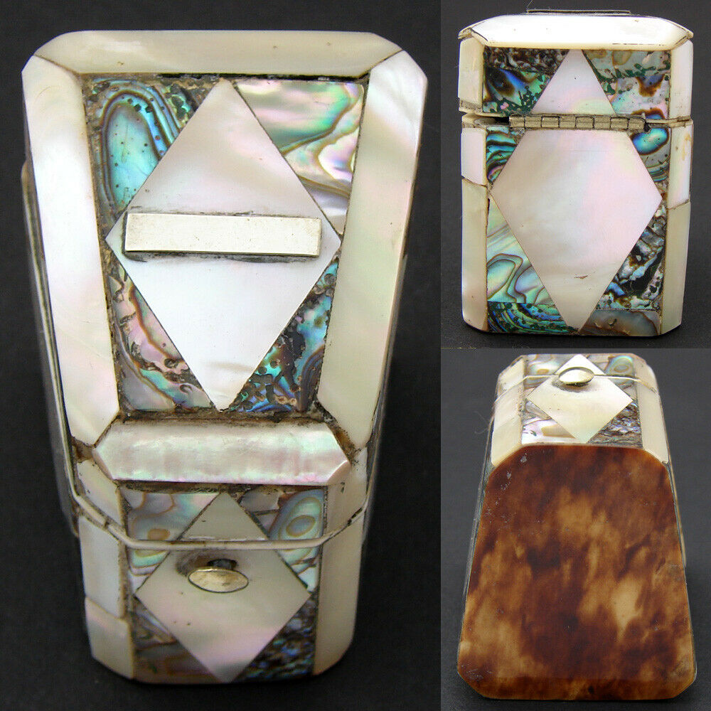 Antique French Napoleon III Mother of Pearl & Abalone Sewing Needle Case