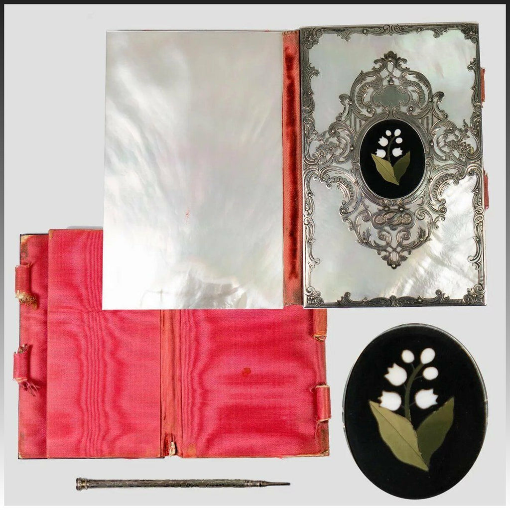 Antique French or Italian Carnet du Bal, Nécessaire, Pearl, Pietra Dura & Silver