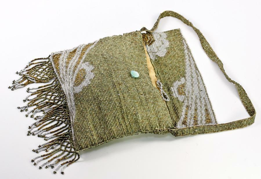 Antique French Made Metal Micro Beaded Bead Bag, Purse, Roaring 20s Fringe