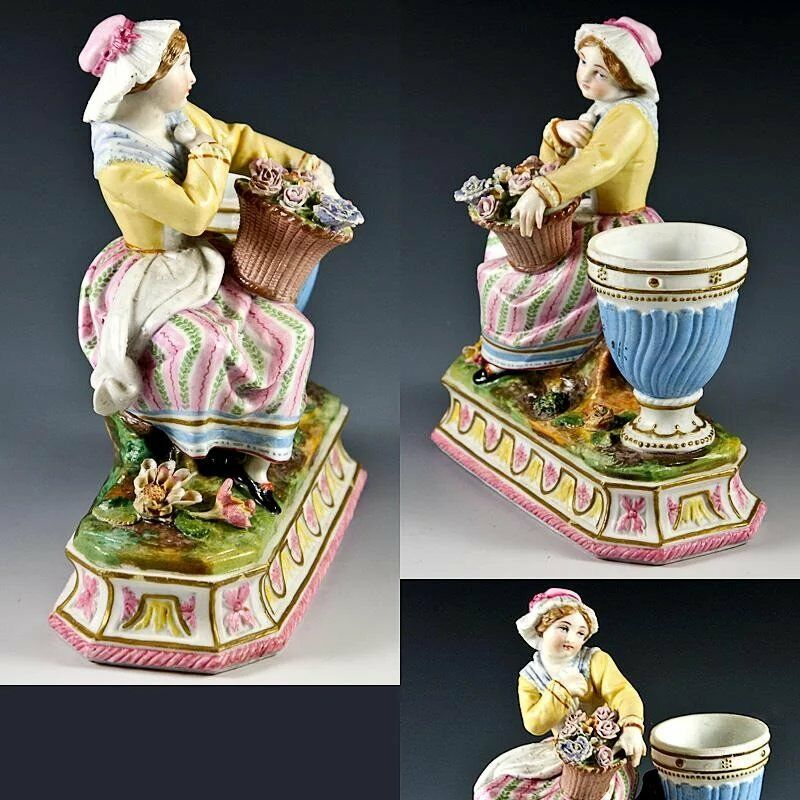 Antique French Old Paris Hand Painted Figure, Small Vase or Egg Stand?