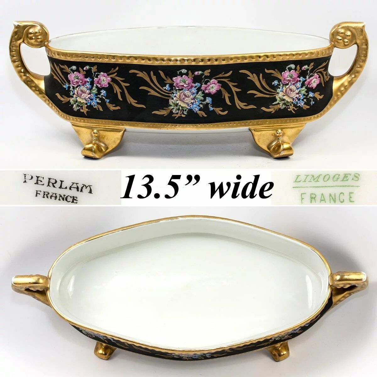 "LG 13.5"" Antique Hand Painted Limoges, France, French Centerpiece, Gold Enamel"