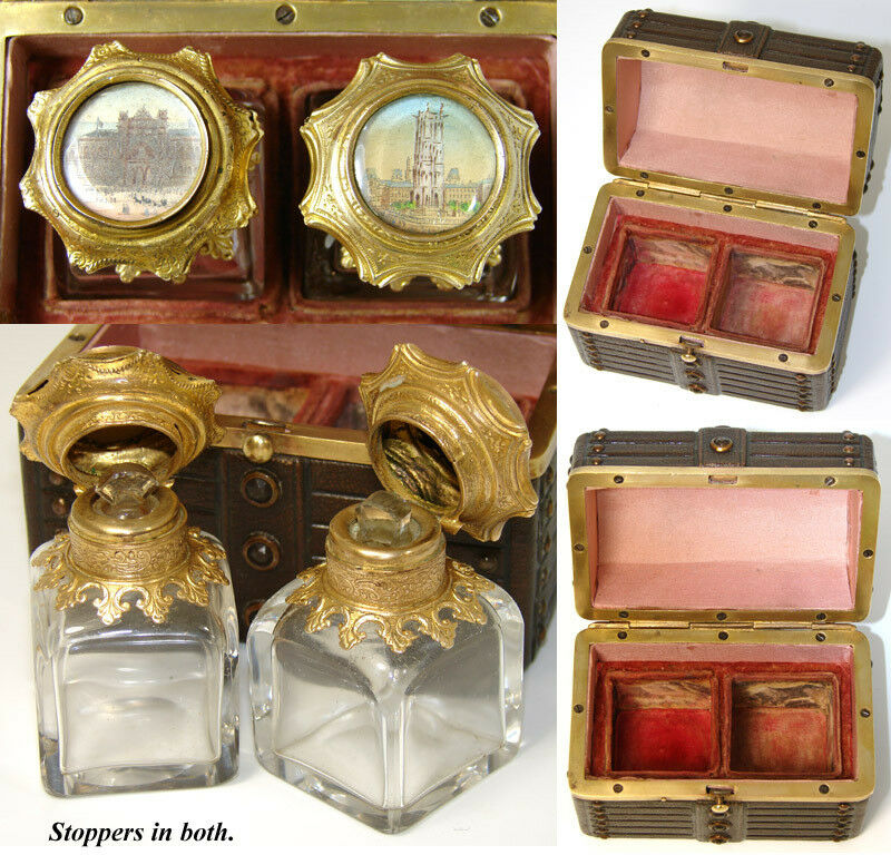 Antique Grand Tour Souvenir Perfume Casket, Two Eglomise Parisian Scene Scents