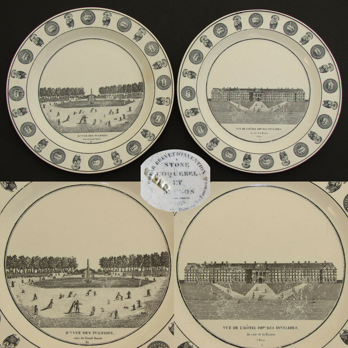 "Pair Antique French Creil Faience 8 1/4"" Cabinet Plates, Paris Grand Tour Scenes"