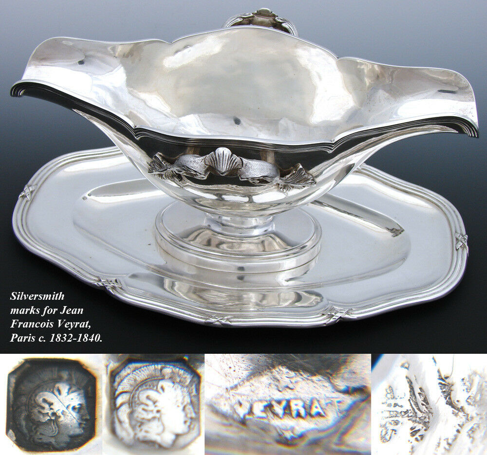 "Elegant Antique French Sterling Silver 10"" Sauce or Gravy Boat, Tray, 1832-1840"