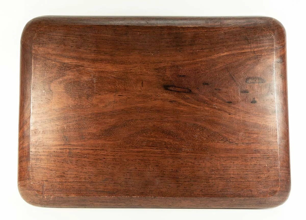 "Splendid 19th C. Antique Asian Teak Bar or Serving Tray, 18.75"" x 10.5"", Carved"