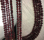 "Antique Victorian 4-Strand Garnet Bead Necklace, 9k Gold Clasp 16 -18.5"" Strands"
