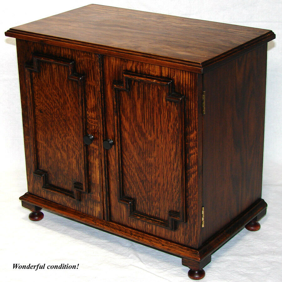 "Antique Victorian to Edwardian Era Oak 14"" Doll Sized Cabinet, Smoker's Chest"