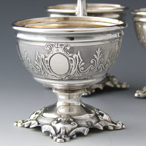 Antique French Sterling Silver Double Open Salt or Sweet Meats Caddy PAIR