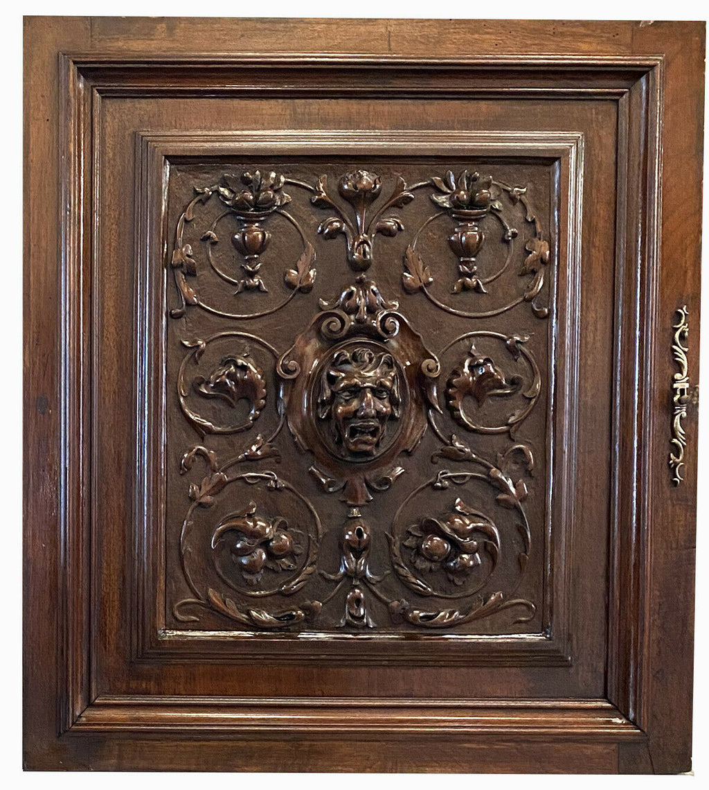 "Antique French Carved Cabinet Door, NeoClassical Figural, 26"" for Bar or Wall"