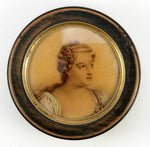 Antique French Snuff Box with Portrait Miniature Drawing, Watercolor