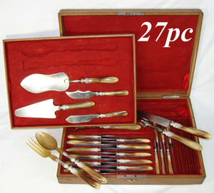 Antique French Sterling Silver & Genuine Horn 27pc Knife & Serving Implement Set