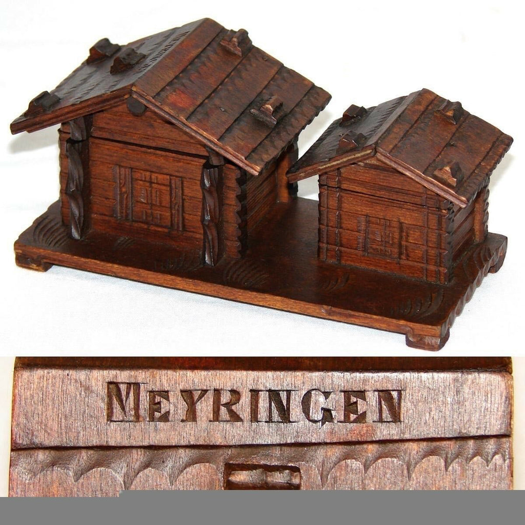 Antique to Vint Black Forest Carved Inkwell & Stamp Box, Cabins: Meyringen Souv.