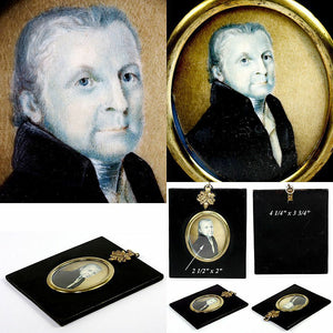Antique Georgian Era Portrait Miniature, Hand Painted Gentleman in Grisaille