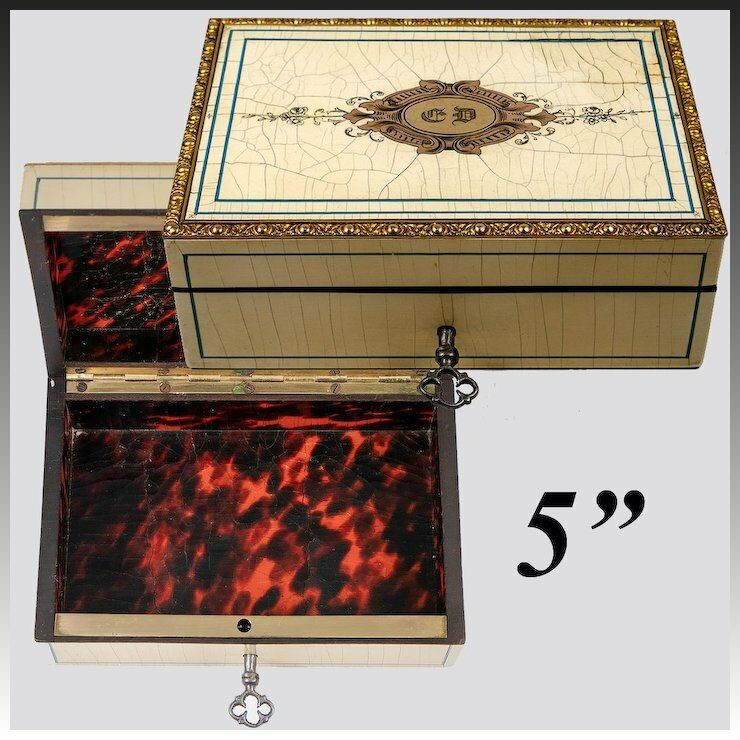 Stunning Antique French Jewelry Box, Cigar Casket, Tortoise Shell and Finest Boulle Work, Lock w Key