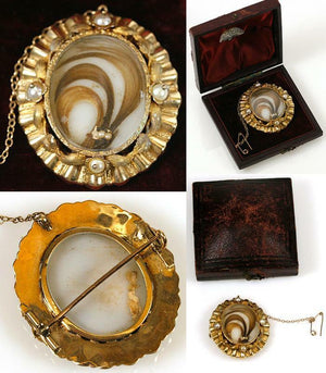Fine Antique French Hair Art Brooch, 18K Gold & Pearls in Domed Jewelry Box