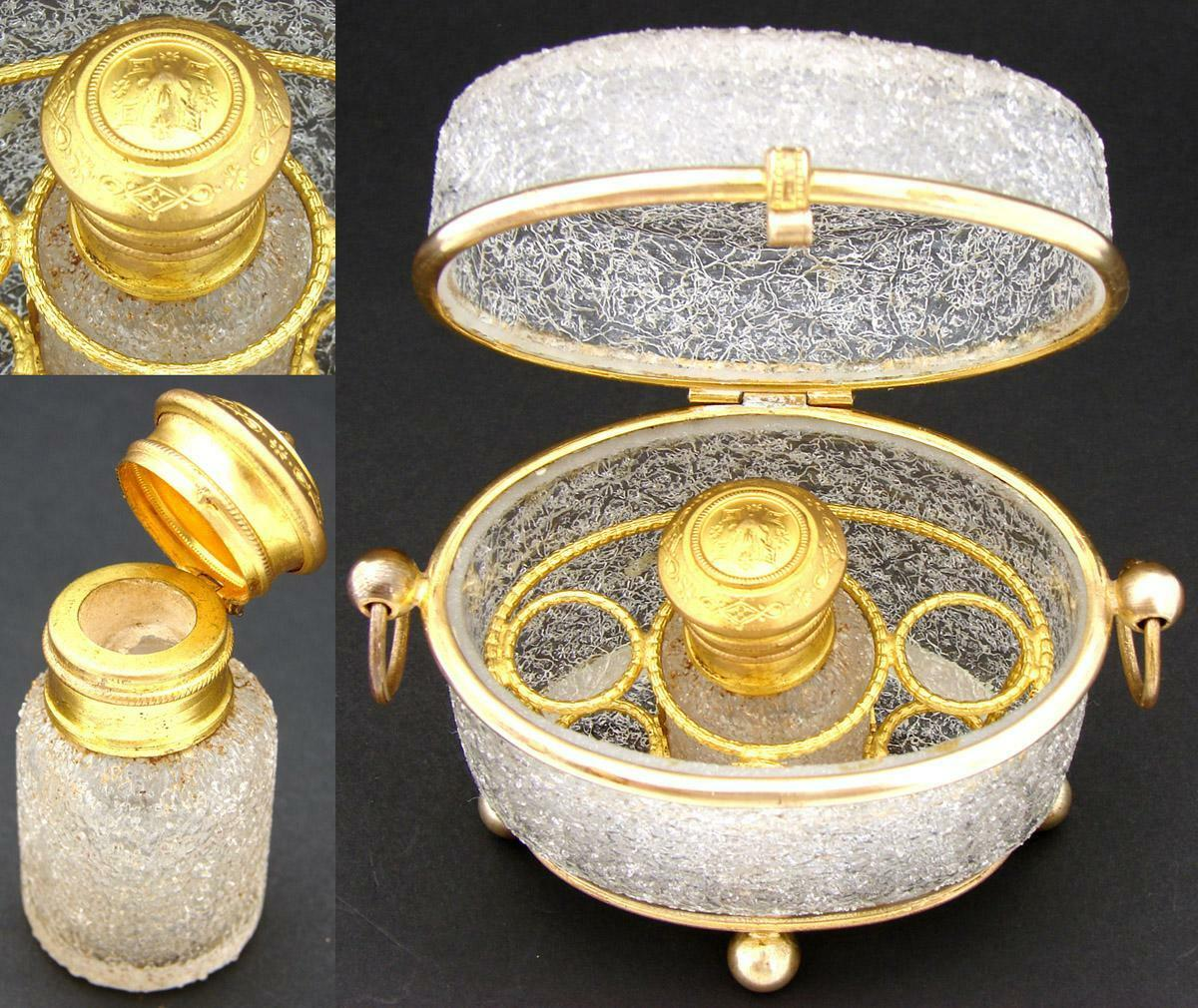 Antique French Scent Caddy, Casket in Crackle or Overshot Glass, Perfume Bottle
