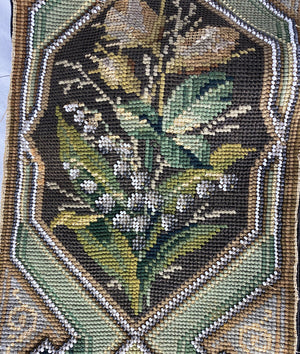 "Antique Needlepoint Beadwork Panel, 56"" Long 7.5"" Wide, For Throw Pillow Pair?"