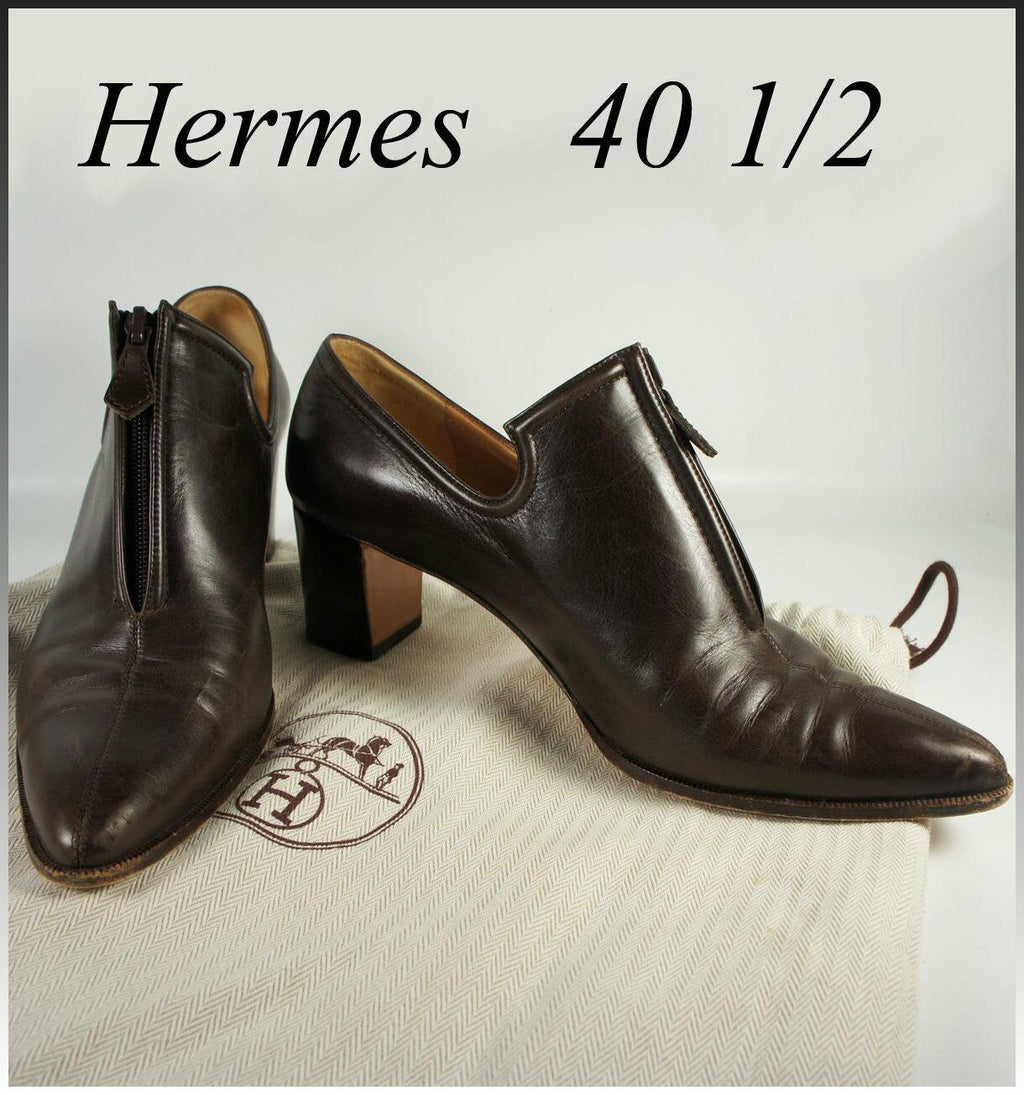 "Hermes Low Ankle Boot, Booties, Dark Brown w 2"" Heel, US 9.5, EU 40 1/2"