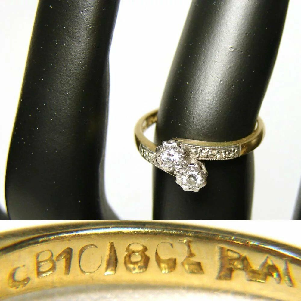 Vintage 18k Yellow Gold & Platinum Ring, White Sapphires or Diamonds, Size 5.5