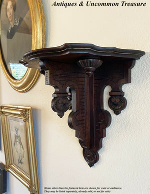 Antique Victorian Era Wall Shelf, Clock or Bracket, Lathe Turned Ornament, 13""