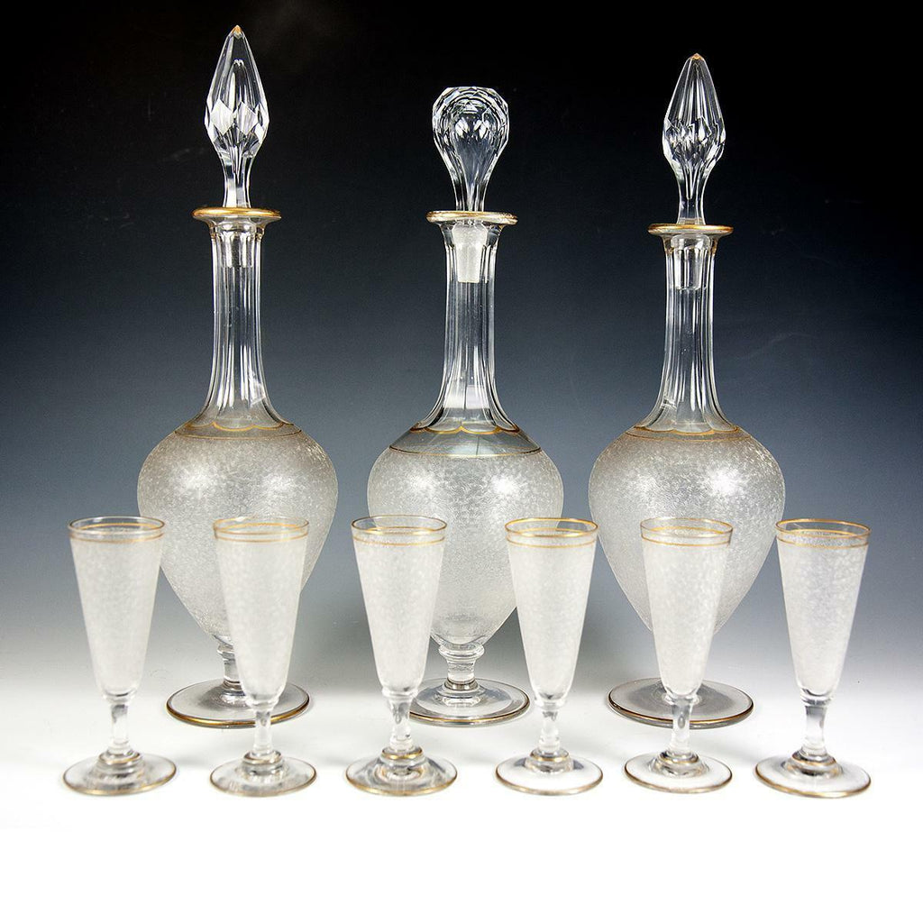 Fine Antique French Liqueur Service, St. Louis, 3 Decanters & 6 Cordials, Stems