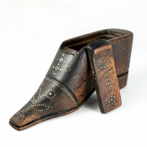 "Antique French 6.75"" Carved Wood Shoe or Boot Table Snuff Box, Pique, c.1780s"