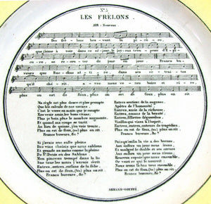"Antique French Legros D'Anizy Creil 8 3/8"" Cabinet Plate Pair, Sheet Music Scene"