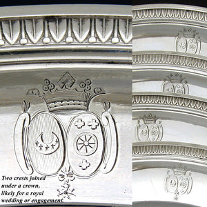 "Superb Antique French Sterling Silver 10"" Chargers, 4pc, Crown Heraldry, 2653 gm"