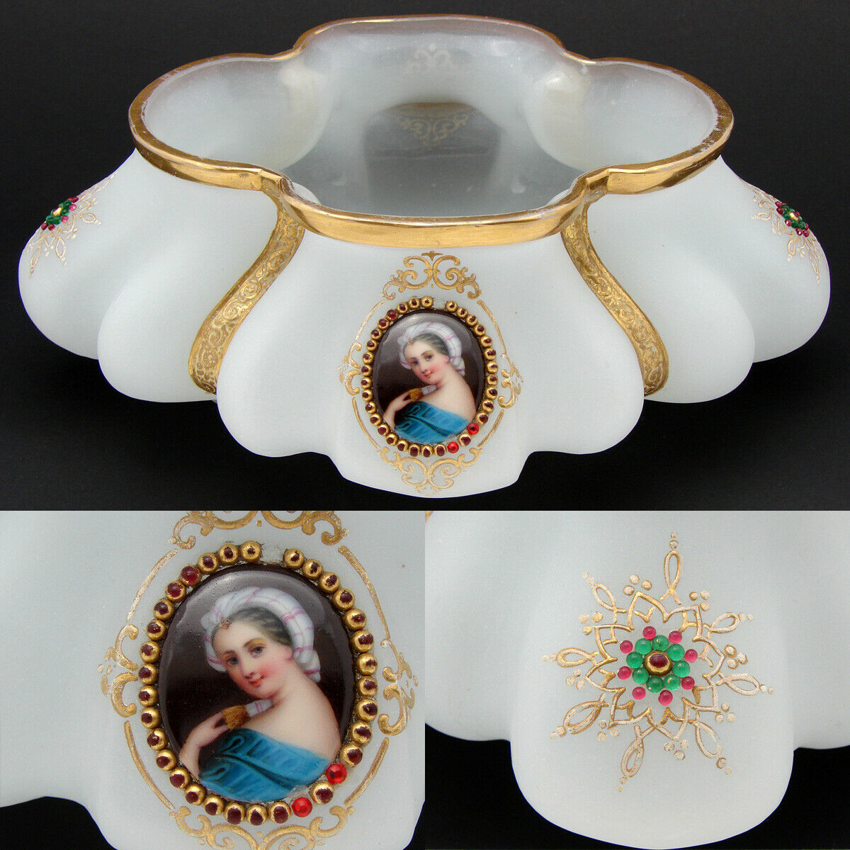 "Antique Moser or French White Opaline 9"" Jardiniere, Centerpiece, HP Portraits"