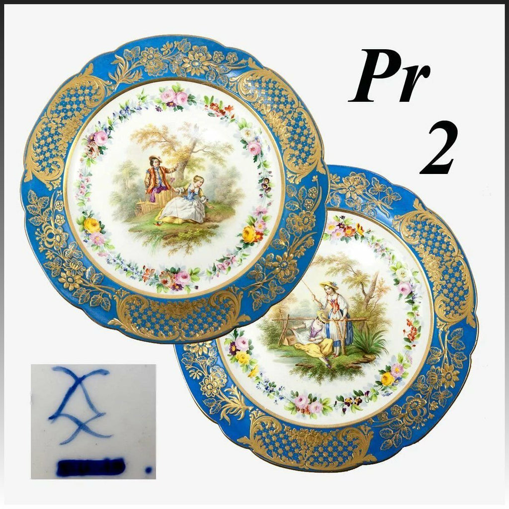 "Antique French Pair 9.75"" Cabinet Plates, Old Paris, Raised Gold & Hand Painted"