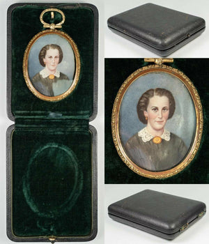 Antique Hand Painted French Portrait Miniature in Locket Style Frame, c. 1850