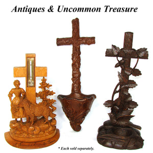 Antique Hand Carved Black Forest Style Benitier or Holy Font, Cross, Foliage
