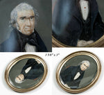 Antique Georgian Era or Earlier Portrait Miniature, a Gentleman, c. 1780-1820
