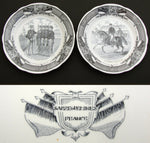 Antique French Sarreguemines 2pc Cabinet Plate Set, Military Theme Figural Scene