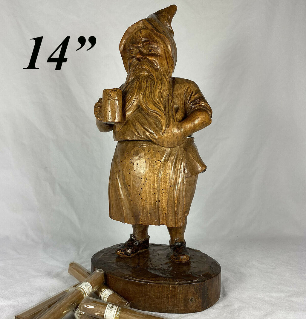 "Antique Black Forest 14"" Tall Gnome, Tobacco or Smoker's Caddy, Pipe or Cigar"