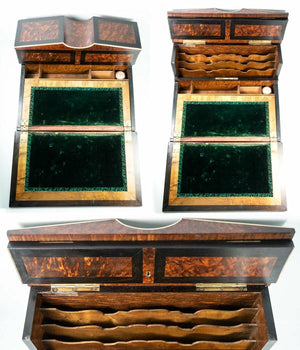 "Antique French Writer's Desk, Chest, 13"" Napoleon III Era, Exotic Woods, Boulle"